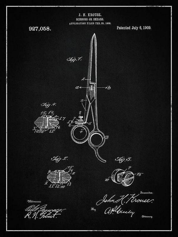 Vintage Barber Shears Patent, 1909 - Art Print from Wallasso - The Wall Art Superstore