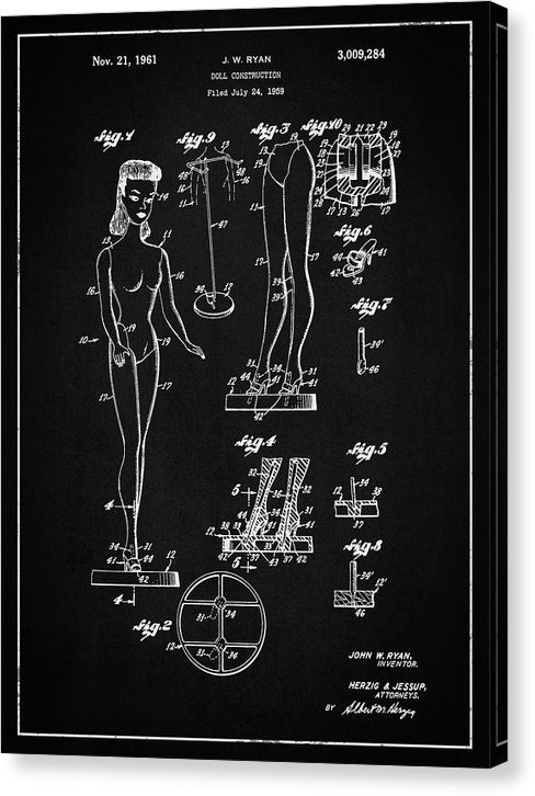 Vintage Barbie Doll Patent, 1961 - Canvas Print from Wallasso - The Wall Art Superstore