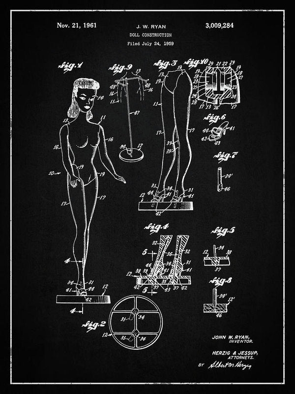 Vintage Barbie Doll Patent, 1961 - Art Print from Wallasso - The Wall Art Superstore