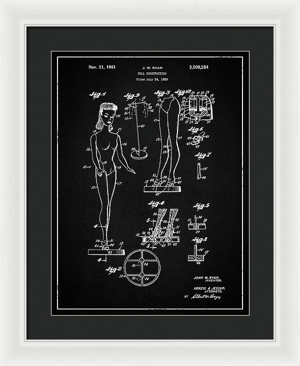 Vintage Barbie Doll Patent, 1961 - Framed Print from Wallasso - The Wall Art Superstore
