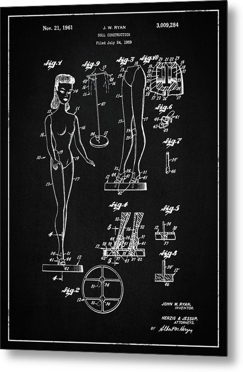 Vintage Barbie Doll Patent, 1961 - Metal Print from Wallasso - The Wall Art Superstore