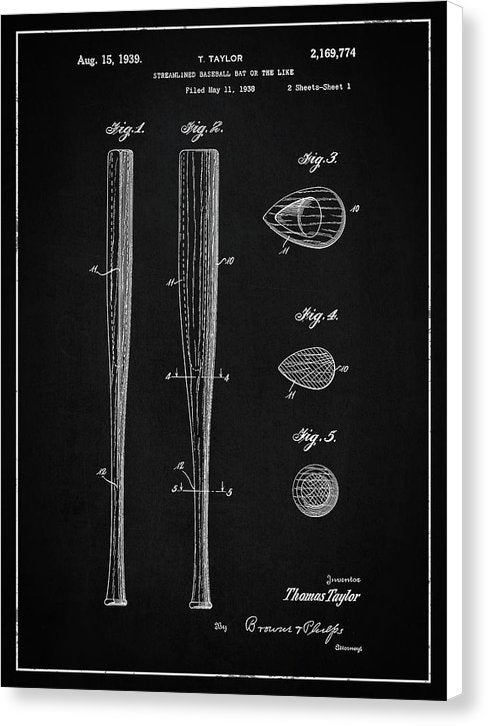 Vintage Baseball Bat Patent, 1939 - Canvas Print from Wallasso - The Wall Art Superstore