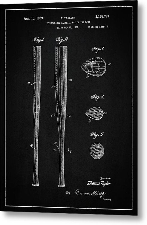 Vintage Baseball Bat Patent, 1939 - Metal Print from Wallasso - The Wall Art Superstore