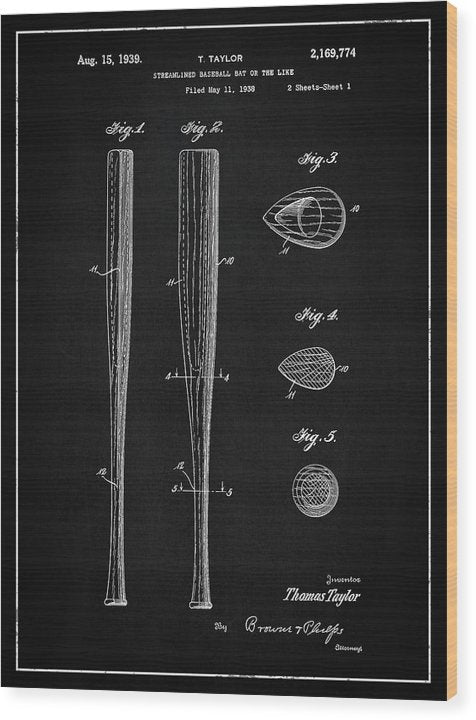 Vintage Baseball Bat Patent, 1939 - Wood Print from Wallasso - The Wall Art Superstore