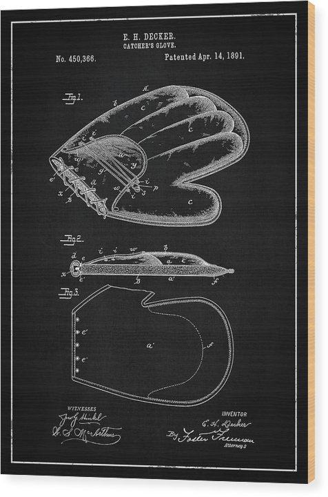 Vintage Baseball Catcher's Glove Patent, 1891 - Wood Print from Wallasso - The Wall Art Superstore