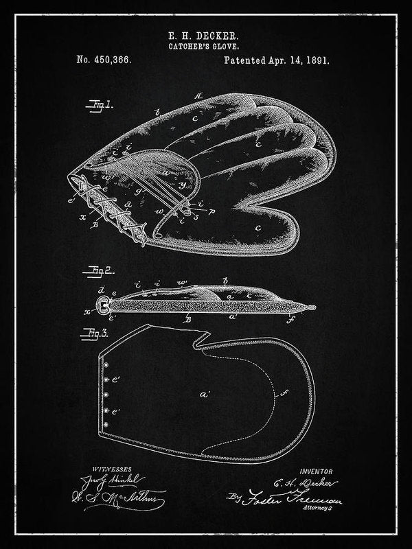Vintage Baseball Catcher's Glove Patent, 1891 - Art Print from Wallasso - The Wall Art Superstore