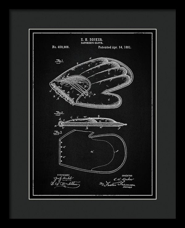 Vintage Baseball Catcher's Glove Patent, 1891 - Framed Print from Wallasso - The Wall Art Superstore