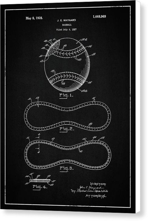 Vintage Baseball Patent, 1928 - Canvas Print from Wallasso - The Wall Art Superstore