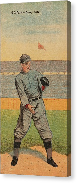 Vintage Baseball Player Illustration, Jersey City - Canvas Print from Wallasso - The Wall Art Superstore