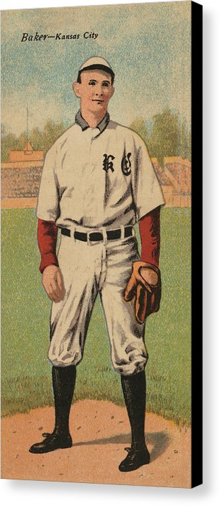 Vintage Baseball Player Illustration, Kansas City - Canvas Print from Wallasso - The Wall Art Superstore