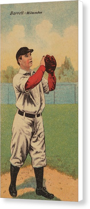 Vintage Baseball Player Illustration, Milwaukee - Canvas Print from Wallasso - The Wall Art Superstore
