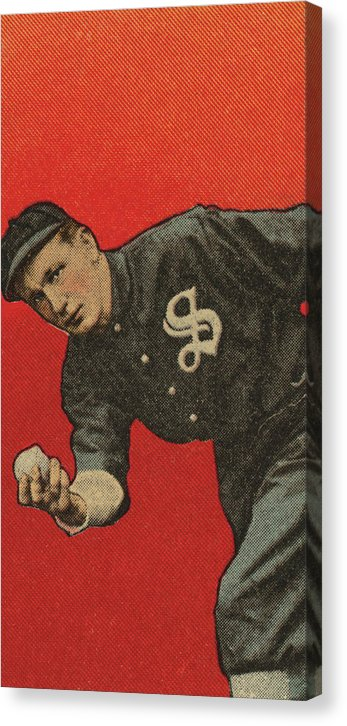 Vintage Baseball Player Illustration - Canvas Print from Wallasso - The Wall Art Superstore