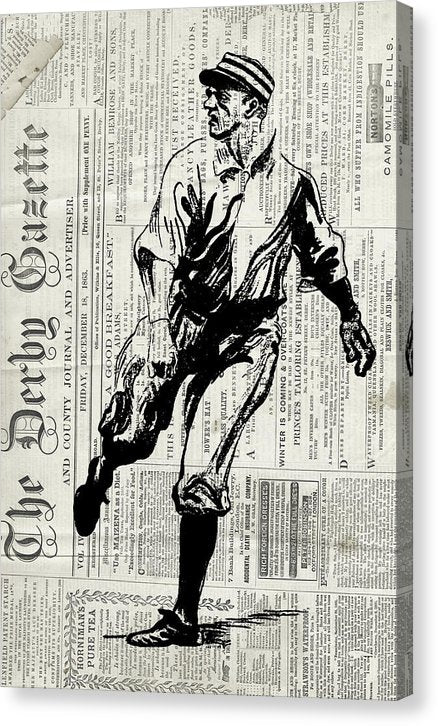 Vintage Baseball Player On Newspaper Print - Canvas Print from Wallasso - The Wall Art Superstore