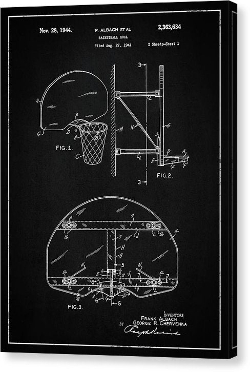 Vintage Basketball Goal Patent, 1944 - Canvas Print from Wallasso - The Wall Art Superstore