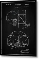Vintage Basketball Goal Patent, 1944 - Metal Print from Wallasso - The Wall Art Superstore