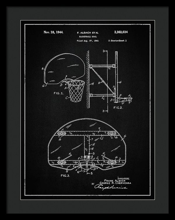 Vintage Basketball Goal Patent, 1944 - Framed Print from Wallasso - The Wall Art Superstore
