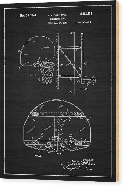 Vintage Basketball Goal Patent, 1944 - Wood Print from Wallasso - The Wall Art Superstore