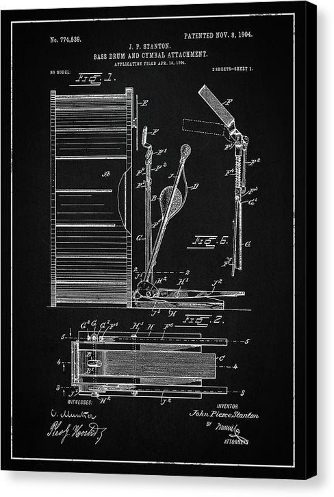 Vintage Bass Drum and Cymbal Patent, 1904 - Canvas Print from Wallasso - The Wall Art Superstore
