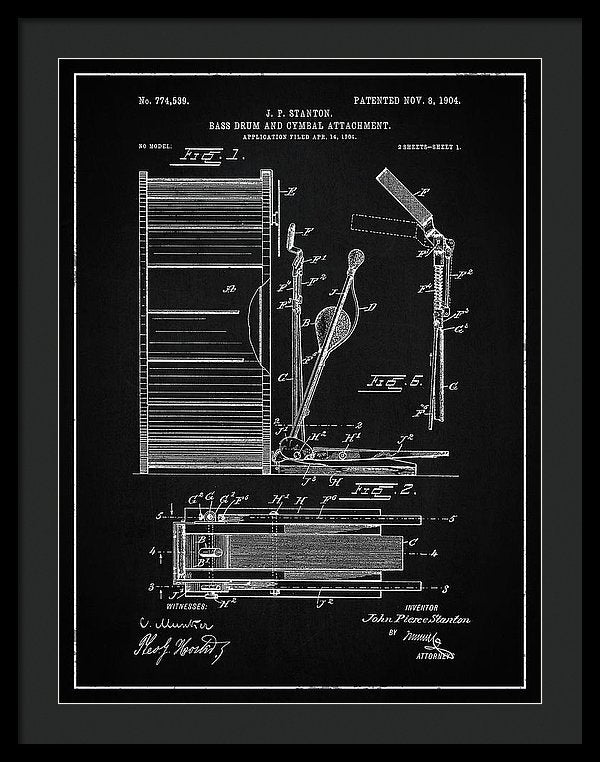 Vintage Bass Drum and Cymbal Patent, 1904 - Framed Print from Wallasso - The Wall Art Superstore