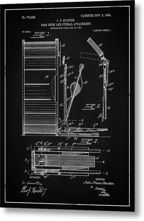 Vintage Bass Drum and Cymbal Patent, 1904 - Metal Print from Wallasso - The Wall Art Superstore