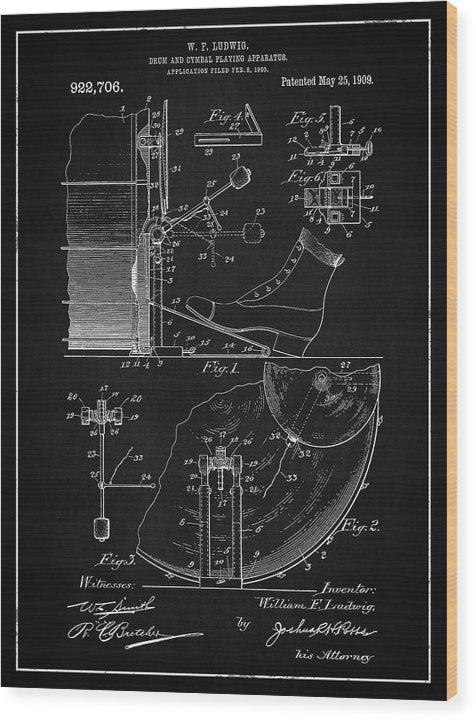 Vintage Bass Drum and Cymbal Patent, 1909 - Wood Print from Wallasso - The Wall Art Superstore