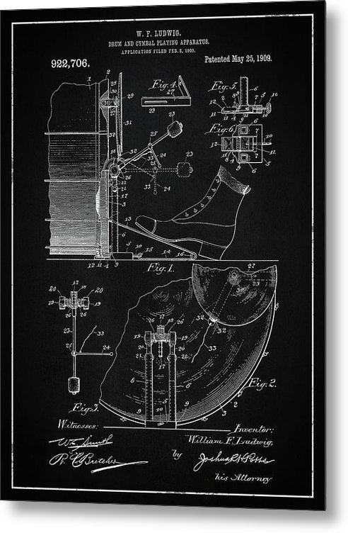 Vintage Bass Drum and Cymbal Patent, 1909 - Metal Print from Wallasso - The Wall Art Superstore