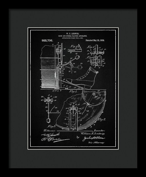 Vintage Bass Drum and Cymbal Patent, 1909 - Framed Print from Wallasso - The Wall Art Superstore
