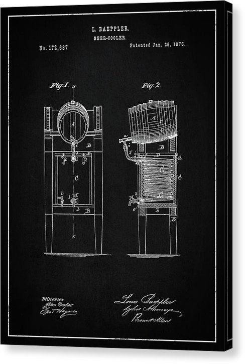 Vintage Beer Cooler Patent, 1876 - Canvas Print from Wallasso - The Wall Art Superstore