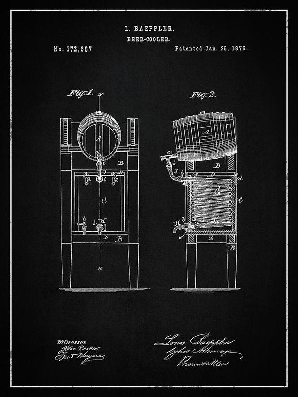 Vintage Beer Cooler Patent, 1876 - Art Print from Wallasso - The Wall Art Superstore