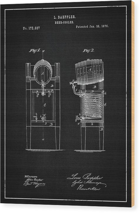 Vintage Beer Cooler Patent, 1876 - Wood Print from Wallasso - The Wall Art Superstore