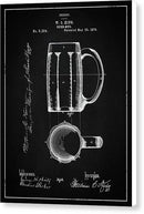 Vintage Beer Mug Patent, 1876 - Canvas Print from Wallasso - The Wall Art Superstore