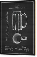 Vintage Beer Mug Patent, 1876 - Wood Print from Wallasso - The Wall Art Superstore