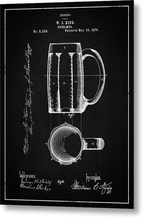Vintage Beer Mug Patent, 1876 - Metal Print from Wallasso - The Wall Art Superstore