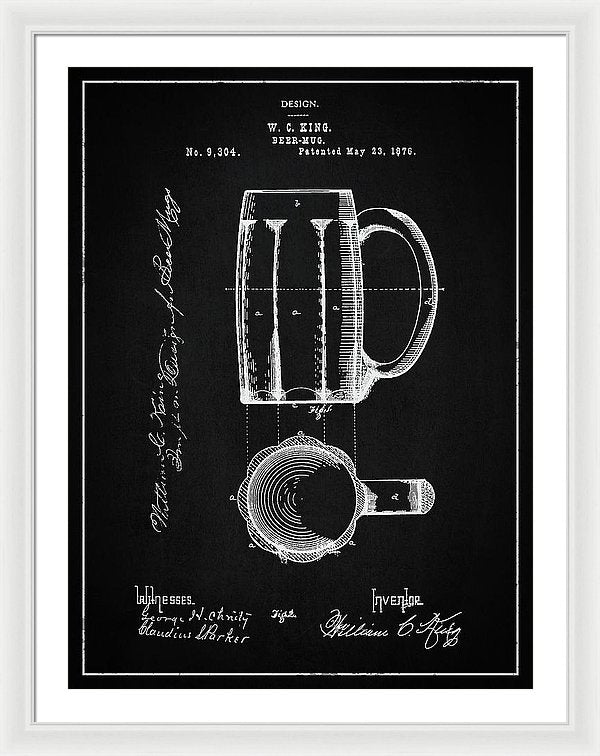 Vintage Beer Mug Patent, 1876 - Framed Print from Wallasso - The Wall Art Superstore