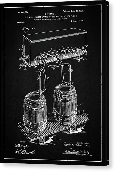 Vintage Beer Tap Apparatus Patent, 1900 - Canvas Print from Wallasso - The Wall Art Superstore