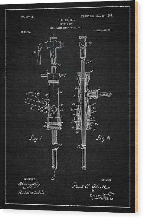 Vintage Beer Tap Patent, 1903 - Wood Print from Wallasso - The Wall Art Superstore