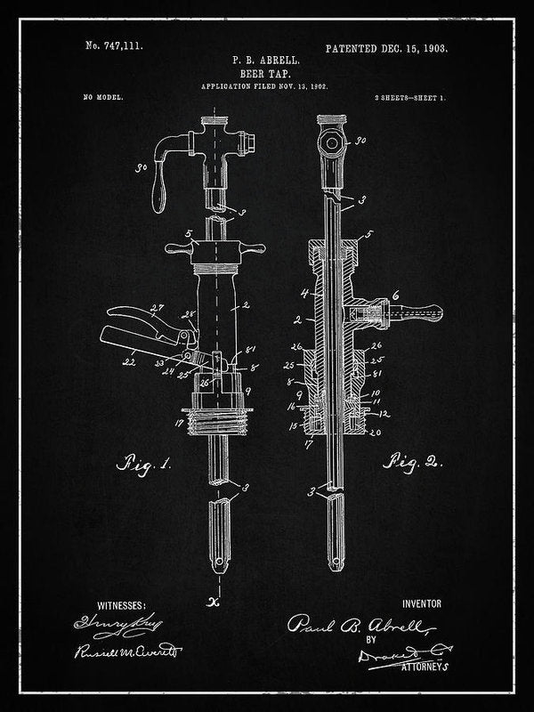 Vintage Beer Tap Patent, 1903 - Art Print from Wallasso - The Wall Art Superstore