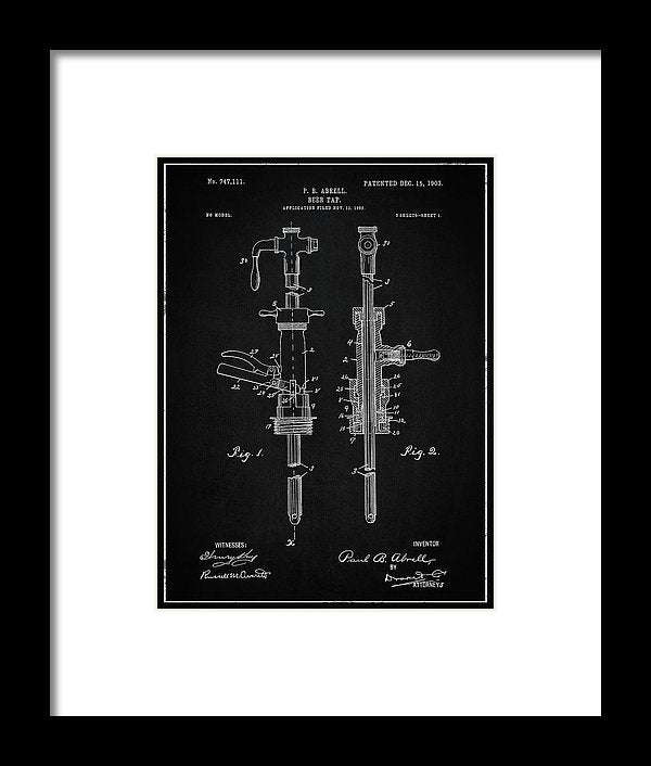 Vintage Beer Tap Patent, 1903 - Framed Print from Wallasso - The Wall Art Superstore