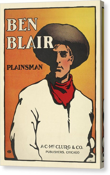 Vintage Ben Blair Plainsman Cowboy Poster - Canvas Print from Wallasso - The Wall Art Superstore