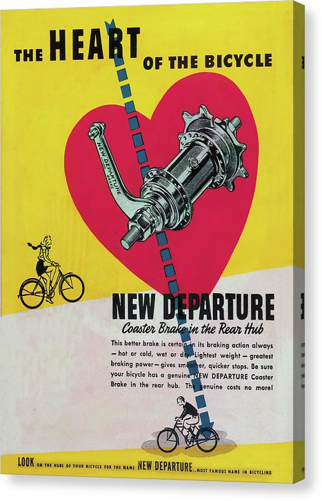 Vintage Bicycle Coaster Brake Advertisement - Canvas Print from Wallasso - The Wall Art Superstore