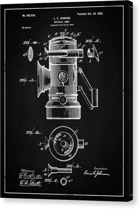 Vintage Bicycle Lamp Patent, 1900 - Canvas Print from Wallasso - The Wall Art Superstore