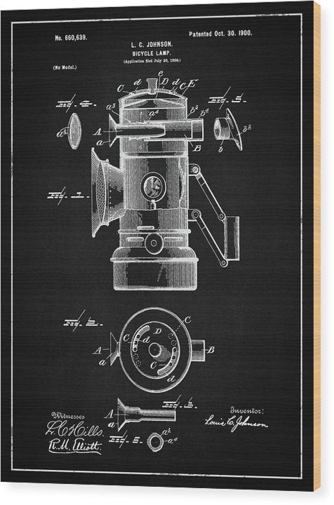 Vintage Bicycle Lamp Patent, 1900 - Wood Print from Wallasso - The Wall Art Superstore