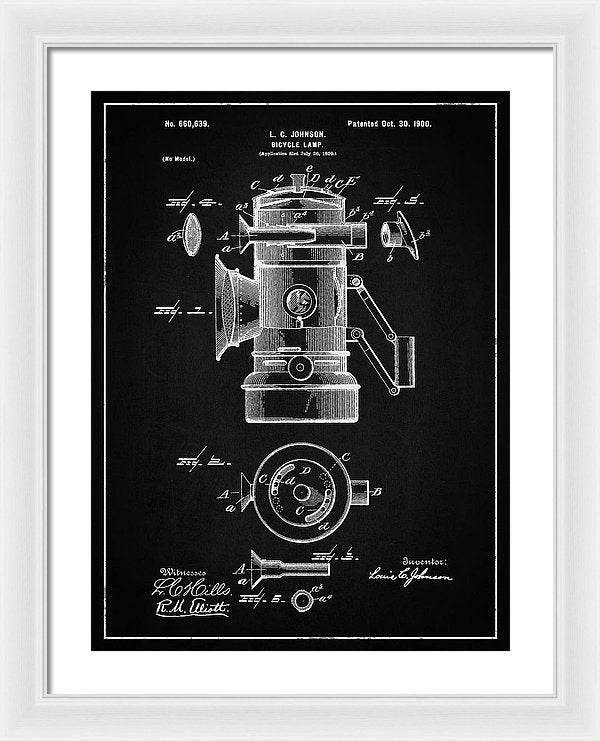 Vintage Bicycle Lamp Patent, 1900 - Framed Print from Wallasso - The Wall Art Superstore