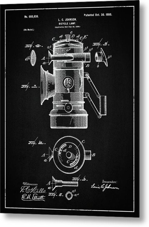Vintage Bicycle Lamp Patent, 1900 - Metal Print from Wallasso - The Wall Art Superstore