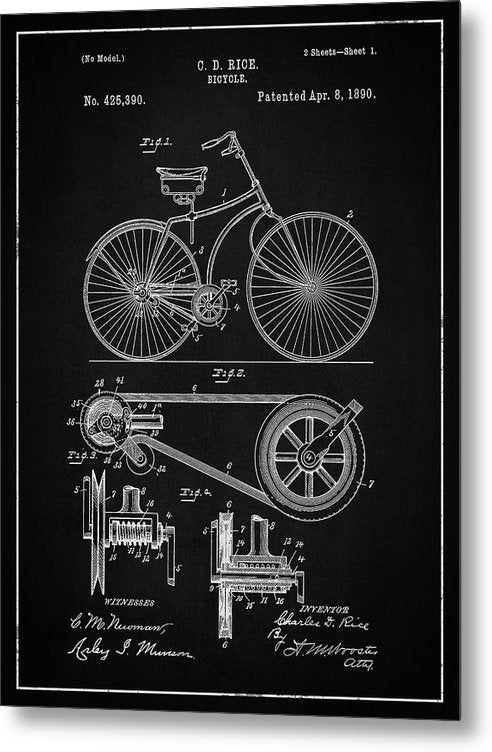 Vintage Bicycle Patent, 1890 - Metal Print from Wallasso - The Wall Art Superstore