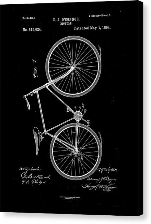 Vintage Bicycle Patent, 1894 - Canvas Print from Wallasso - The Wall Art Superstore