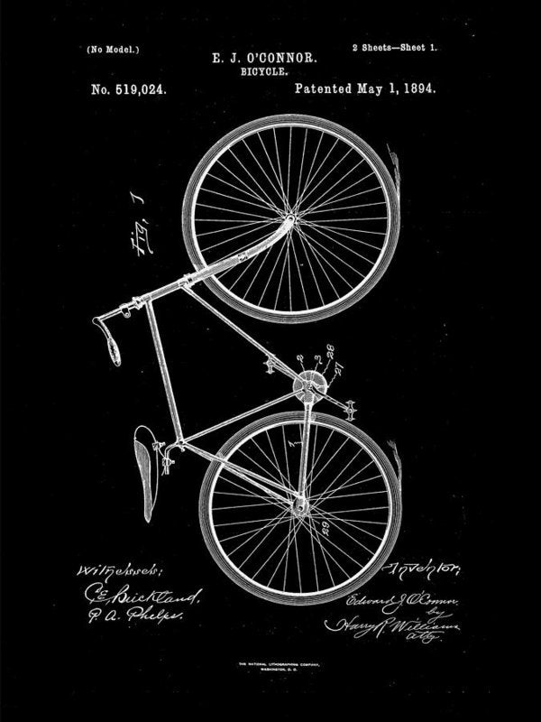 Vintage Bicycle Patent, 1894 - Art Print from Wallasso - The Wall Art Superstore