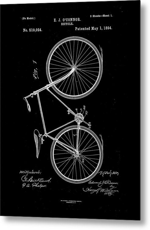 Vintage Bicycle Patent, 1894 - Metal Print from Wallasso - The Wall Art Superstore