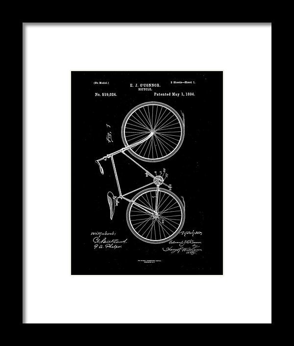 Vintage Bicycle Patent, 1894 - Framed Print from Wallasso - The Wall Art Superstore