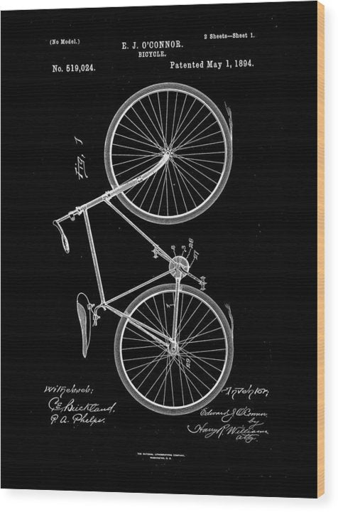 Vintage Bicycle Patent, 1894 - Wood Print from Wallasso - The Wall Art Superstore